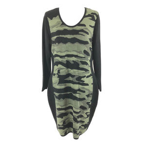 Say What? Sweater Dress Camoflage Long Sleeve 2X